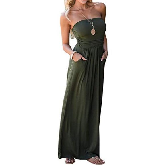 2bfbdbf9ab4 Vanilla Bay Olive Green Strapless Maxi Dress. M_5c7ae247baebf63adf11a4cb